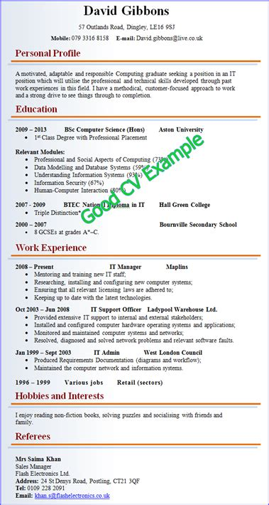A number of documents are available here to guide you through the. Best CV Examples