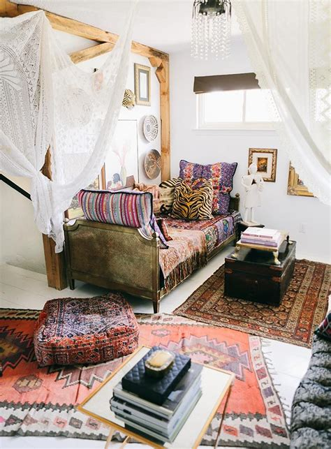 home n decor in a maximalist s layered bohemian home