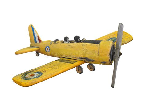 wooden folk art airplane toy isolated stock photo image