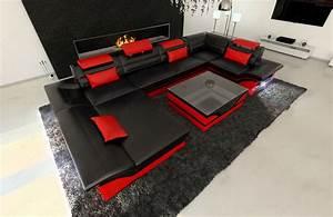 Couch U Form Modern : ledersofa enzo u form couch garnitur mit led licht schwarz rot ebay ~ Bigdaddyawards.com Haus und Dekorationen