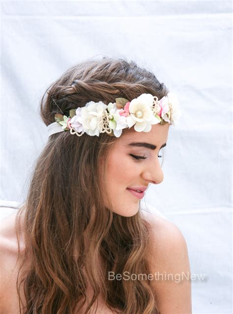 wedding flower crown boho crown  pink  ivory