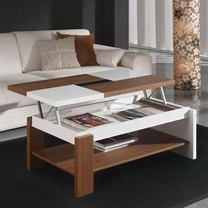 Table Basse Relevable Plateau Bois Et Blanc Mobilier Et Dco
