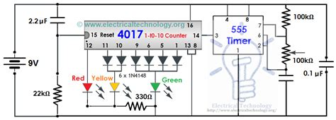 traffic light control electronic project    timer electronic circuits