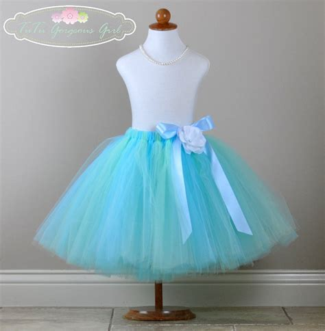 light blue tutu light blue mint flower tutu skirt or dress