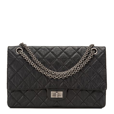 chanel black quilted aged calfskin reissue  double
