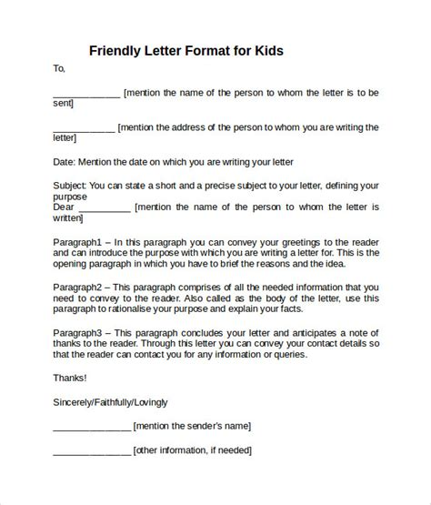 letter format 187 friendly letter format exle free