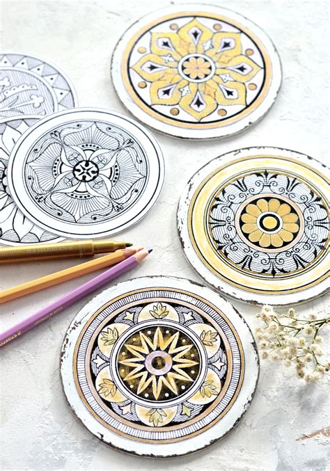 diy antique adult coloring medallions  printable