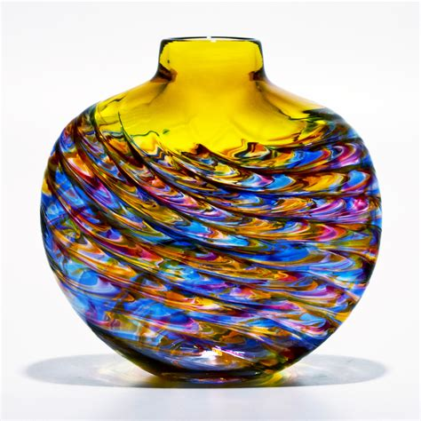 vases uk yellow glass vase aztec by michael trimpol boha glass