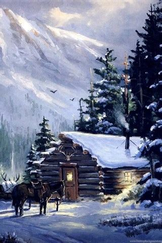 art mountain mountain cabin nature winter hd desktop