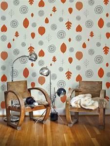 Papier Peint Deco : d co mur salon 50 id es r tro vintage et artistiques ~ Voncanada.com Idées de Décoration