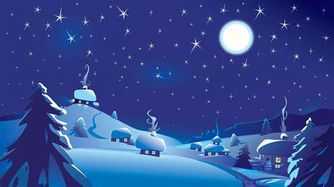 digital art nature moon stars sky night clouds blue