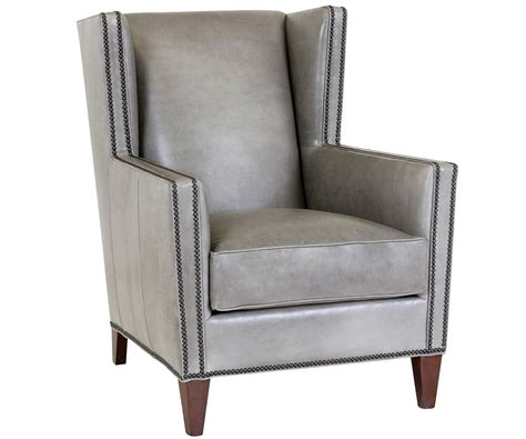 Wing Back Leather Chair With Nailhead Trim