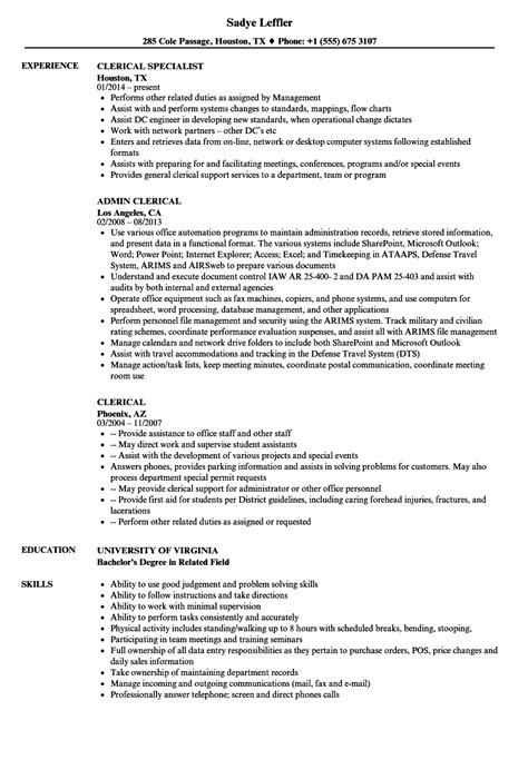 Clerical Position Resume by Clerical Resume Sle Fresh Writing Help For College