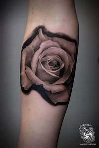 Rose portrait, black and grey rose tattoo - Malan Tattoo ...