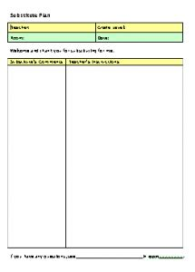 emergency substitute lesson plans template free substitute lesson plan form freeology