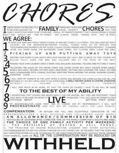 Kids Chores Contract