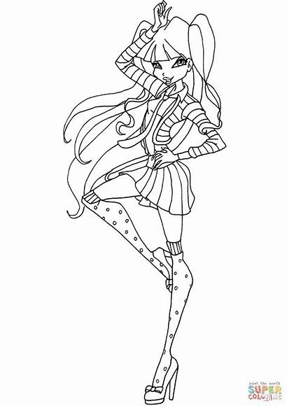 Winx Coloring Musa Pages Club Printable Template
