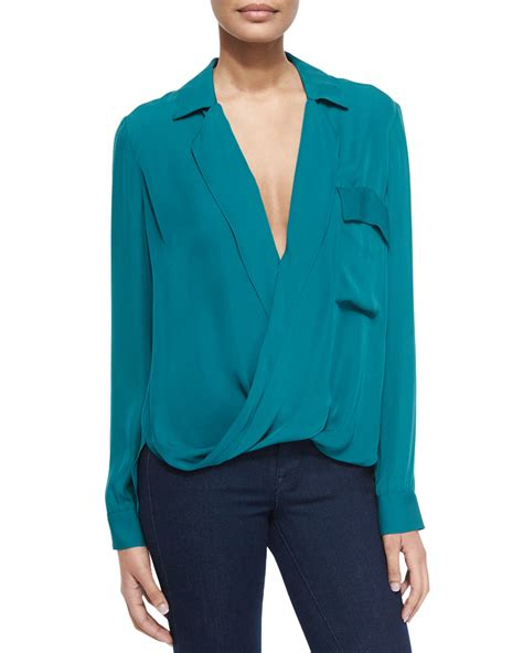 teal blouses l 39 agence lola sleeve silk blouse in teal lyst