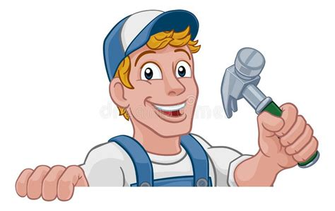 cartoon carpenter  construction guy stock vector