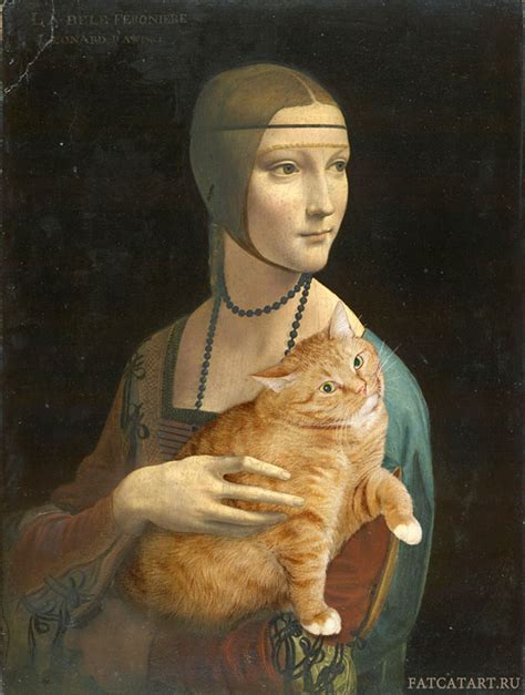 russian artist inserts  fat cat  iconic paintings  poke
