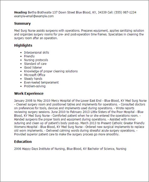 Med Surg Registered Resume by Professional Med Surg Templates To Showcase Your