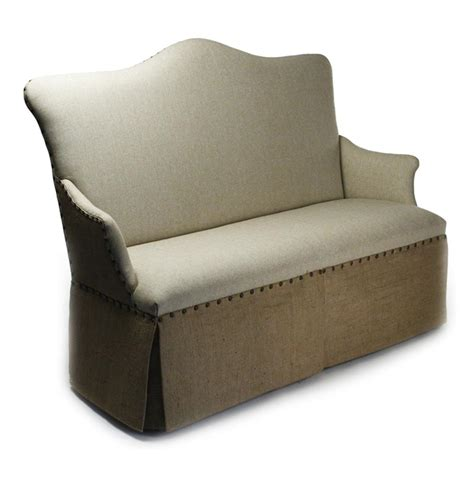 Settee Banquette by Country Jute Linen Skirted Dining Settee Banquette Seat