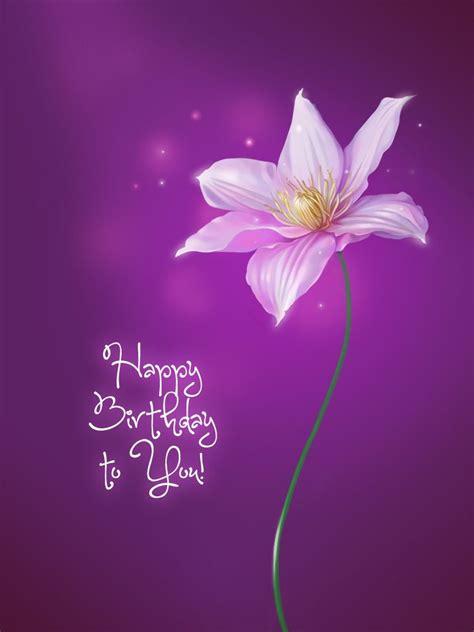 purple flower happy birthday cards birthday wishes