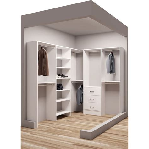 Closet Organizer Corner by Tidysquares White Wood 75 X 102 25 Quot Walk In Closet System