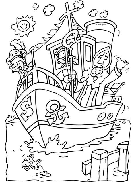 Kleurplaat Zwarte Piet Fiets by Stoomboot Sinterklaas Knutselpagina Nl Knutselen