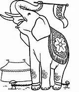 Circus Elephant Drawing Coloring Flag Waving Getcolorings Pages Eleph Getdrawings sketch template