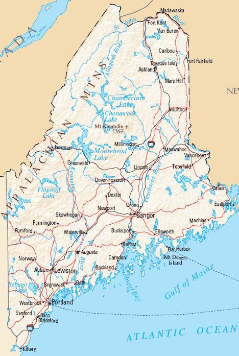 maine map map  maine