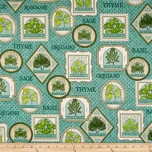 Herb Garden Herb Patches Teal - Discount Designer Fabric