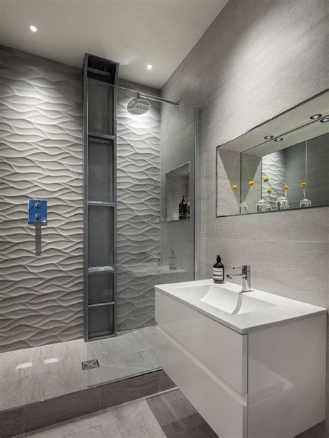 London Textured Wall Bathroom Contemporary With Wide