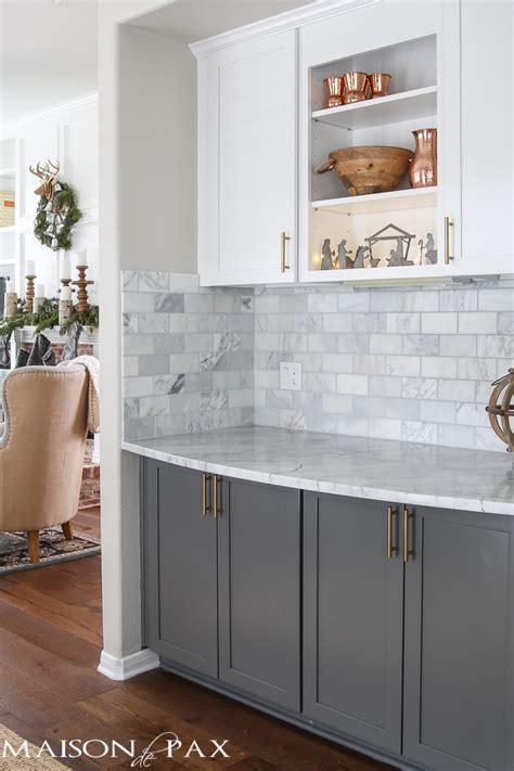 white upper cabinets grey lower christmas kitchen maison de pax 262 | Christmas kitchen 3