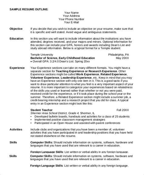 Basic Resume Outline by Sle Resume Outline 8 Exles In Pdf Word
