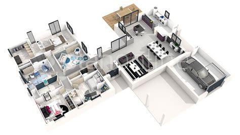 modèle plan d plan maison 3d moderne