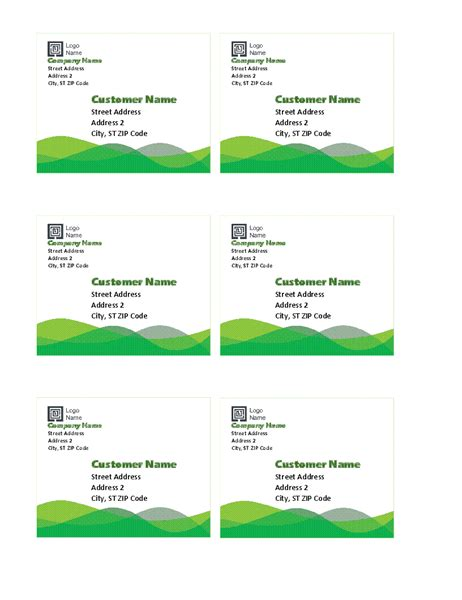 Shipping Labels Green Gradient Design 10 Per Page Works Labels Office