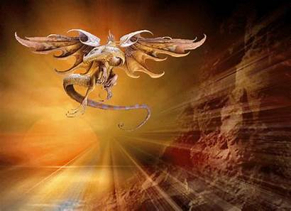 Soleil Dragon Gifs Coucher Dragons Fantastiques Centerblog
