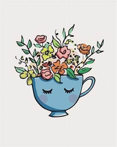 Tea Drawing Cup Teacup Flowers Flower Simple