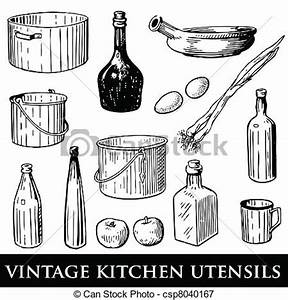 Vectors Illustration Of Vintage Kitchen Utensils Vector