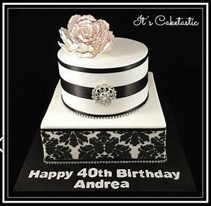 Black And White Damask 40Th Birthday Cake - CakeCentral.com