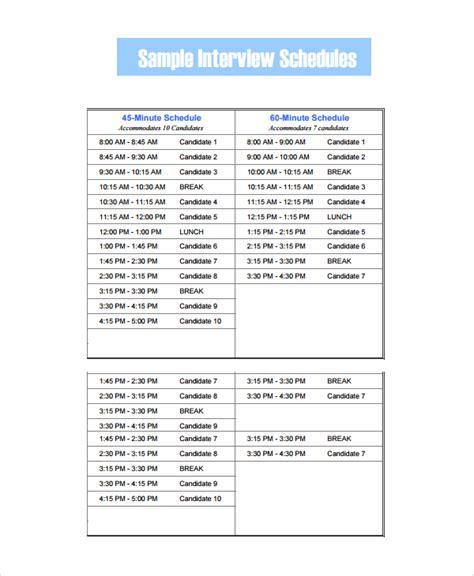 interview schedule 13 schedule templates sle templates
