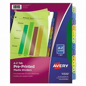 Purchase preprinted plastic tab dividers and other index for Avery 3 tab dividers