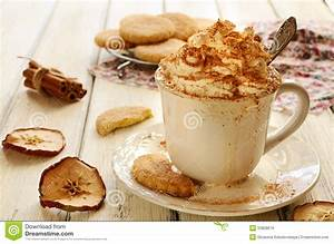 Cup Of Whipped Cream Coffee And Apple Cookies On Wooden ...