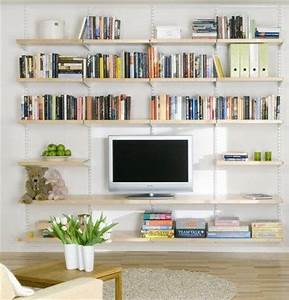 Living room shelving ideas hanging birch wooden shelves for Shelving designs for living room