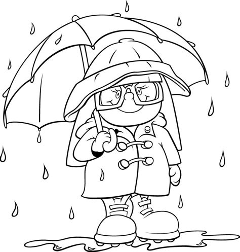 rain gear coloring page weather  seasons activities
