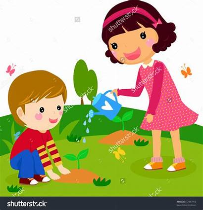 Clipart Water Plant Watering Plants Trees Boy