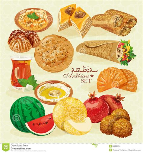 cuisine halal set of traditional arabian halal food stock vector image