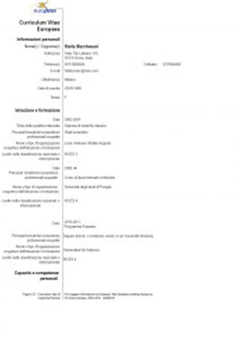 Curriculum Vitae Formato Europeo Esempio Di Compilazione Example