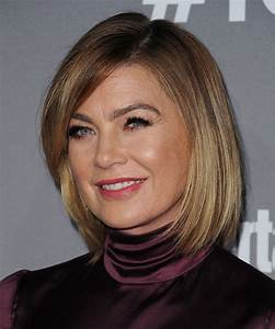 Ellen Pompeo Medium Straight Casual Bob Hairstyle with Side Swept Bangs Dark Blonde Hair Color